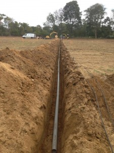500foot trench and pipe and machines